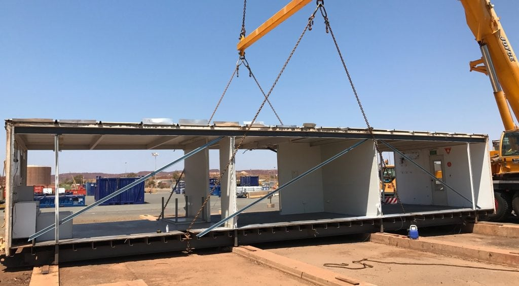 Shed construction by crane for commercial project in the Pilbara